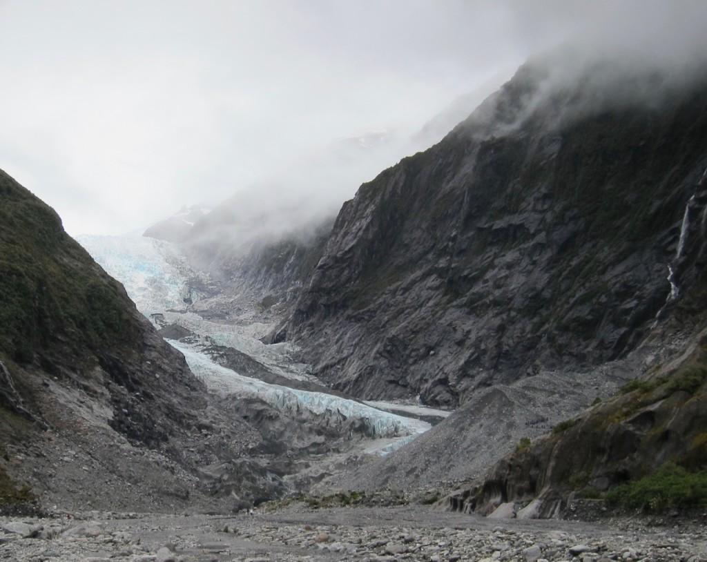 Franz Josef-glaciären, Nya Zeeland, december 2011. Den krymper...