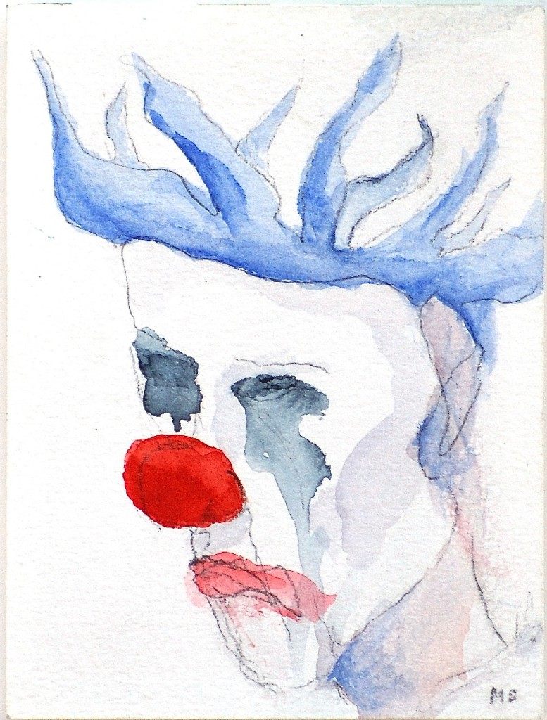 Sorgsen; akvarell