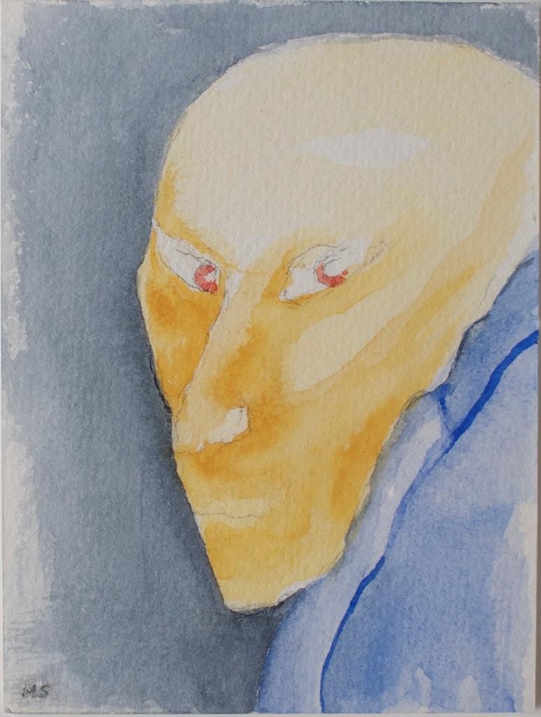 Å sido satt, akvarell